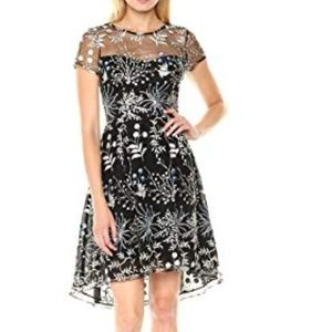 Adrianna Papell Floral Embroidered High Low Dress